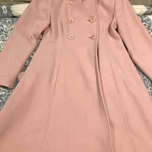 Pink free length flared pea coat